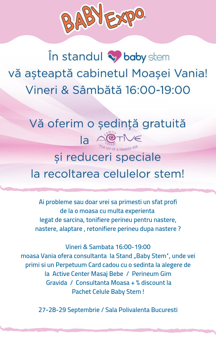 """Cabinetul moașei Vania se deschide la """"Baby Expo"""" 2019"""